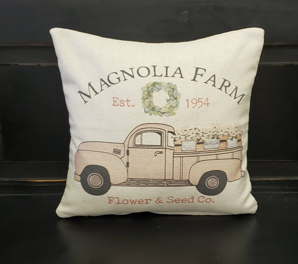 Magnolia Truck Pillow