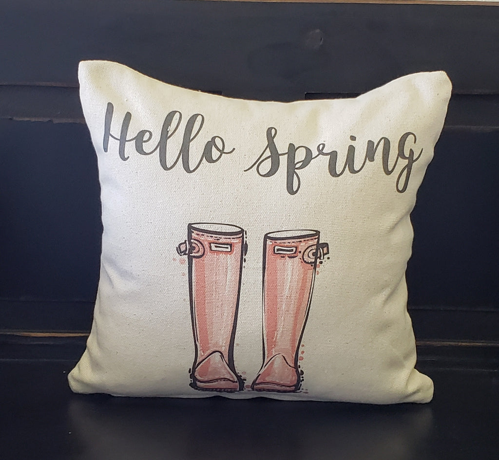 Hello Spring Boots Pillow
