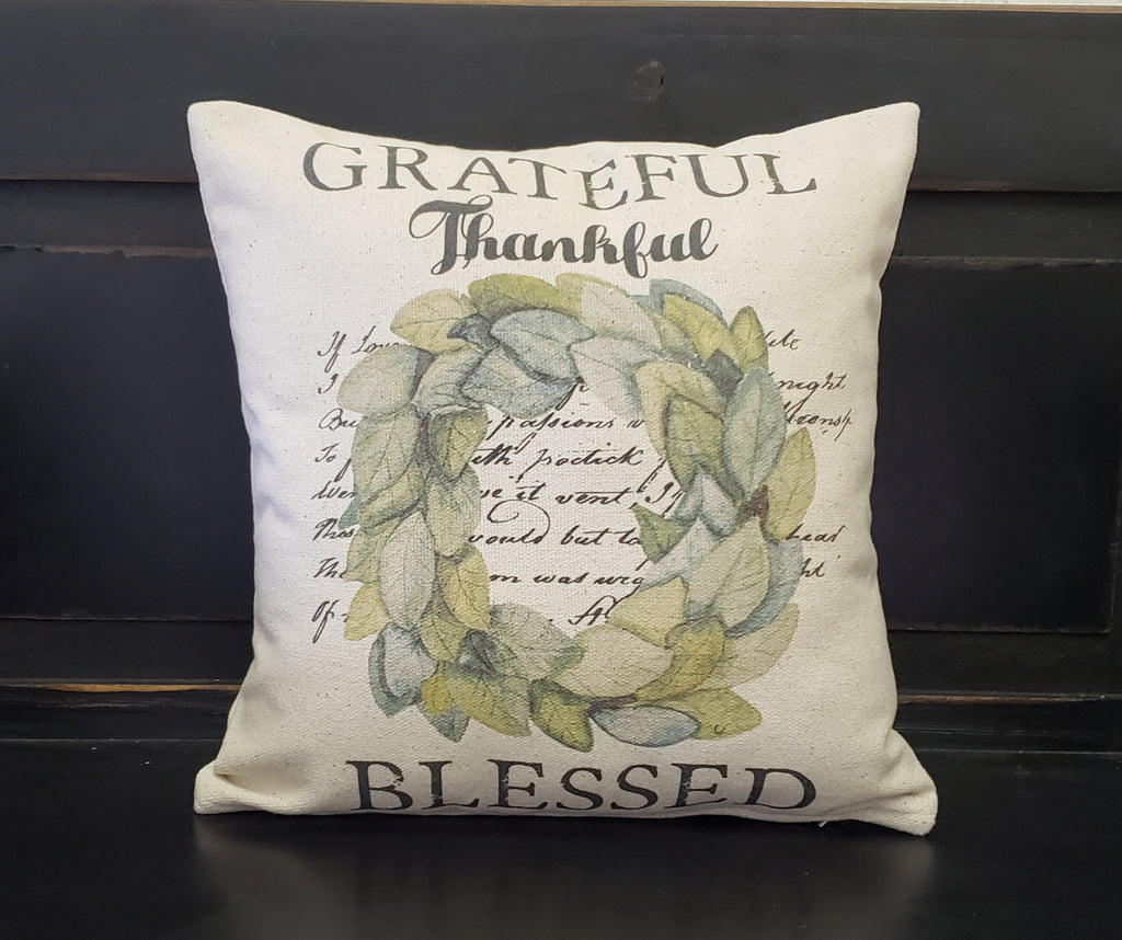 Grateful Thankful Blessed Wreath Pillow