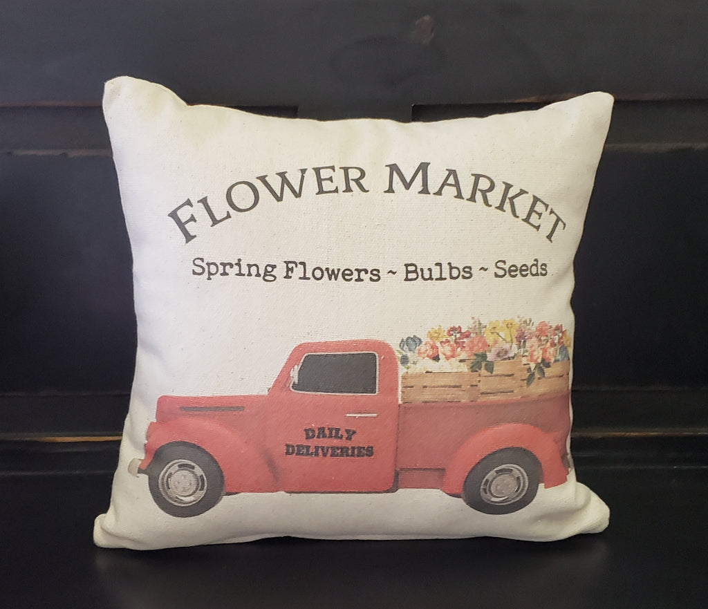 Flower Market Truck Pillow