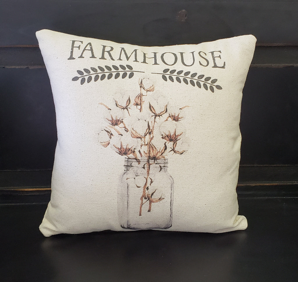 Farmhouse Cotton Mason Jar Pillow