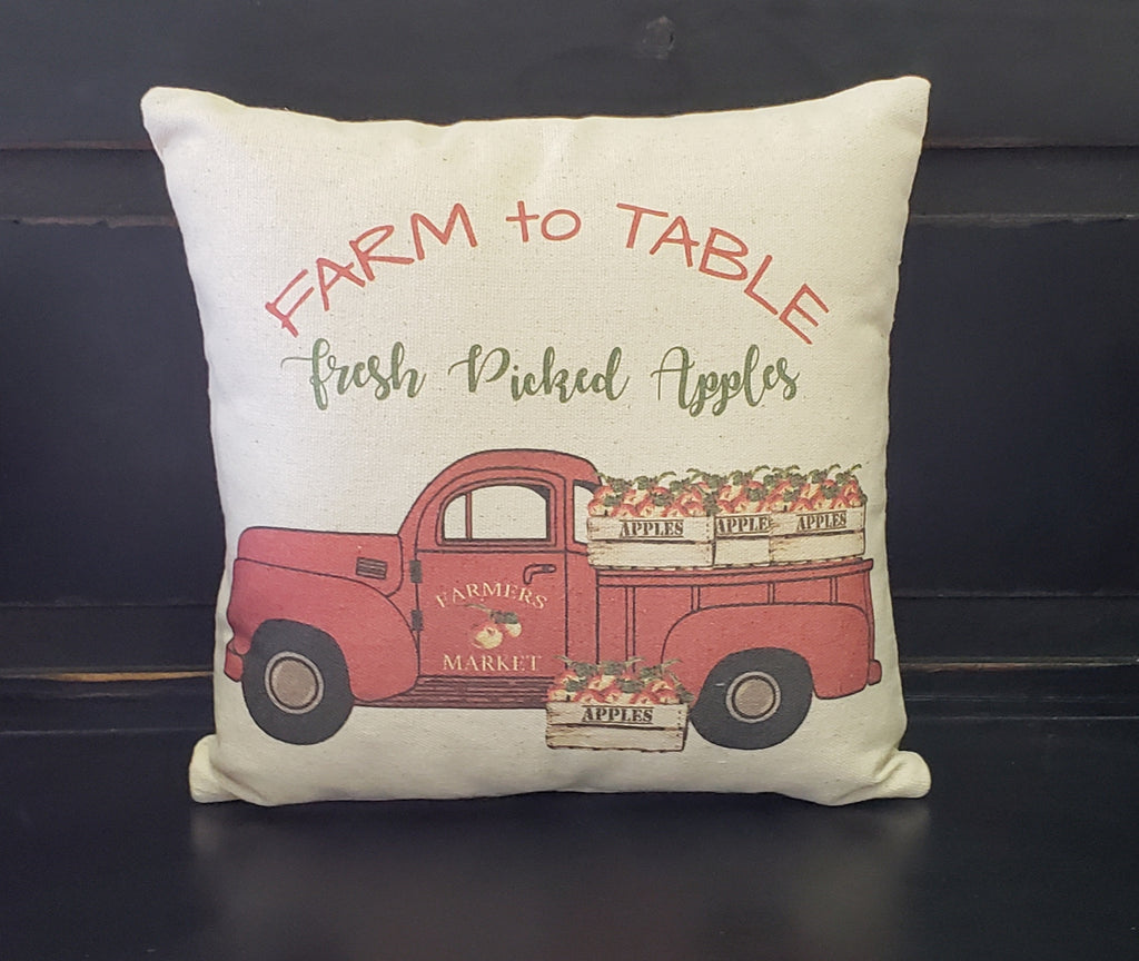 Farm To Table Apple Truck Pillow