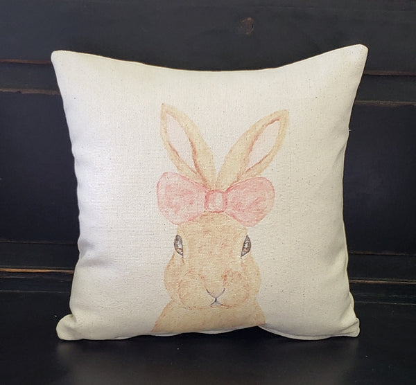 Pink Bow Bunny Pillow