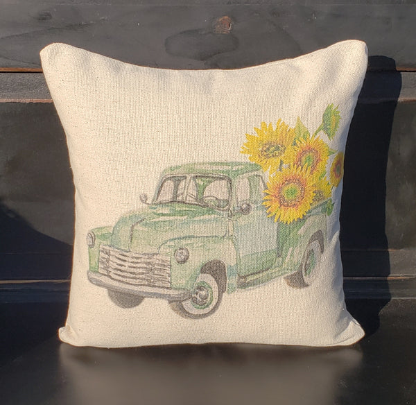 Green Sunflower Truck Pillow