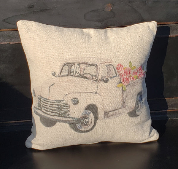 White Roses Truck Pillow