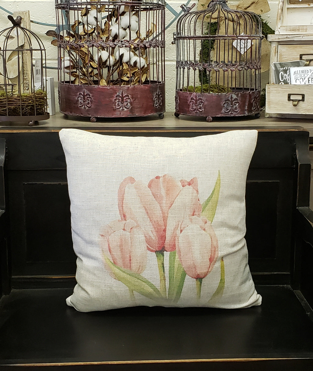 Pink Tulip Linen Pillow