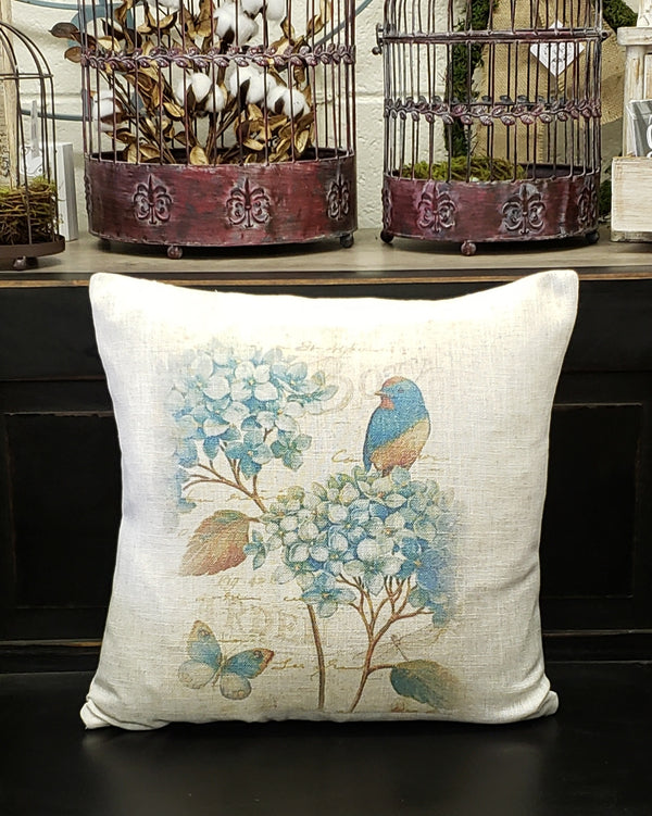 Blue Bird Hydrangea Linen Pillow