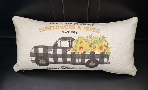Sunflower Buffalo Truck Pillow 10x20