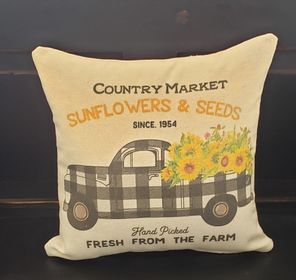 Sunflower Buffalo Truck Pillow