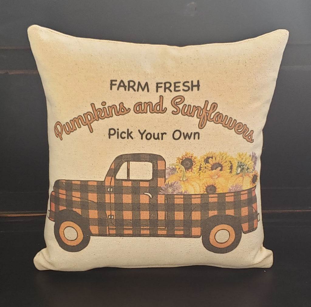 Pumpkin and Sunflowers Truck Pillow