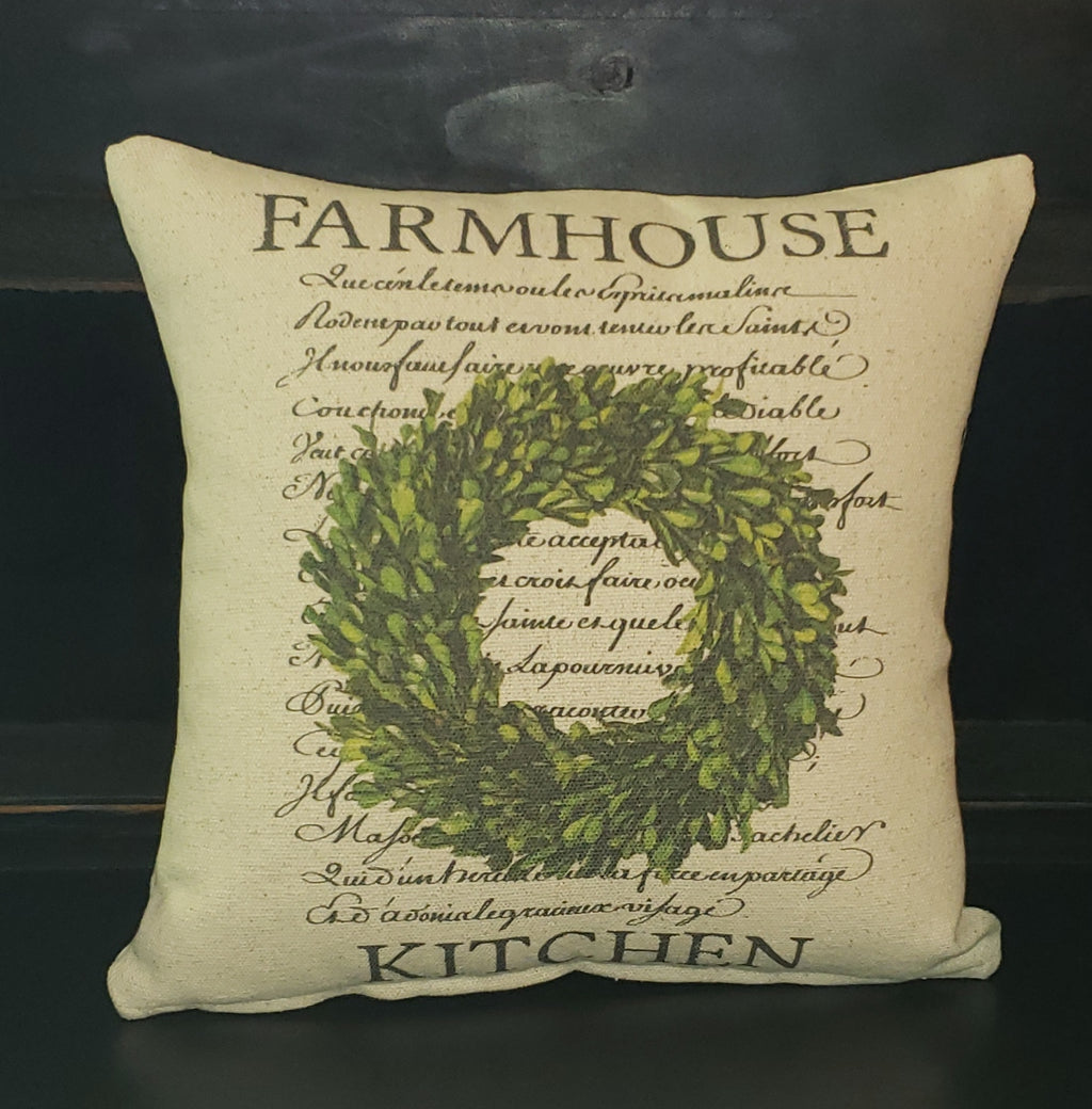 Farmhouse Kitchen Wreath Pillow