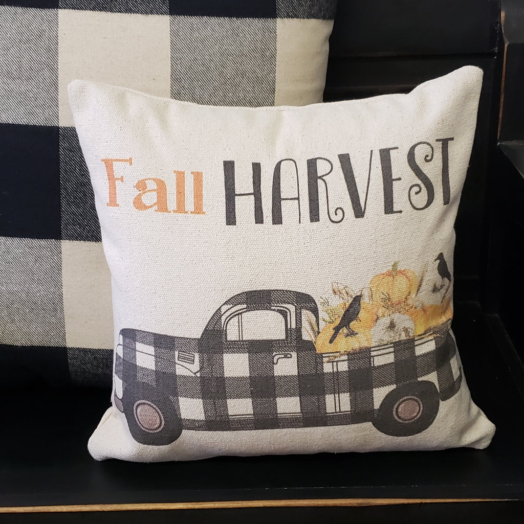 Fall Harvest Buffalo Truck Pillow