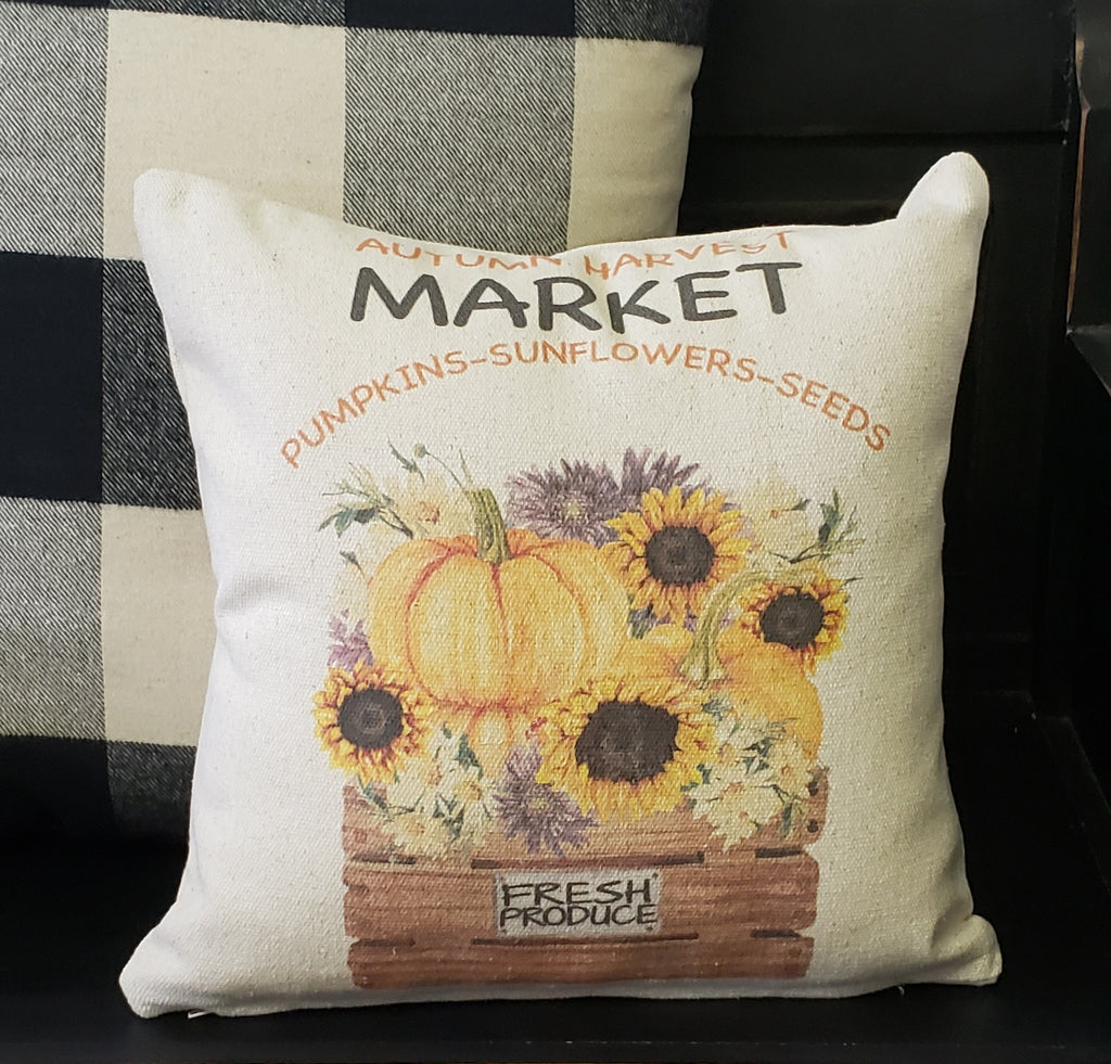 Autumn Harvest Basket Pillow