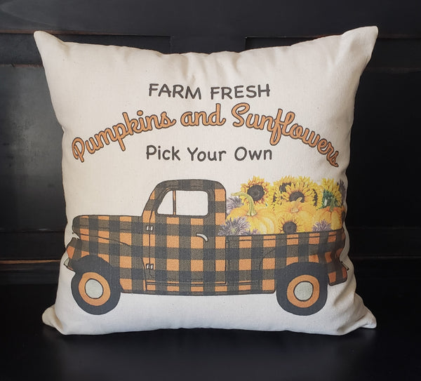 Pumpkin & Sunflowers Truck 16x16 Cover