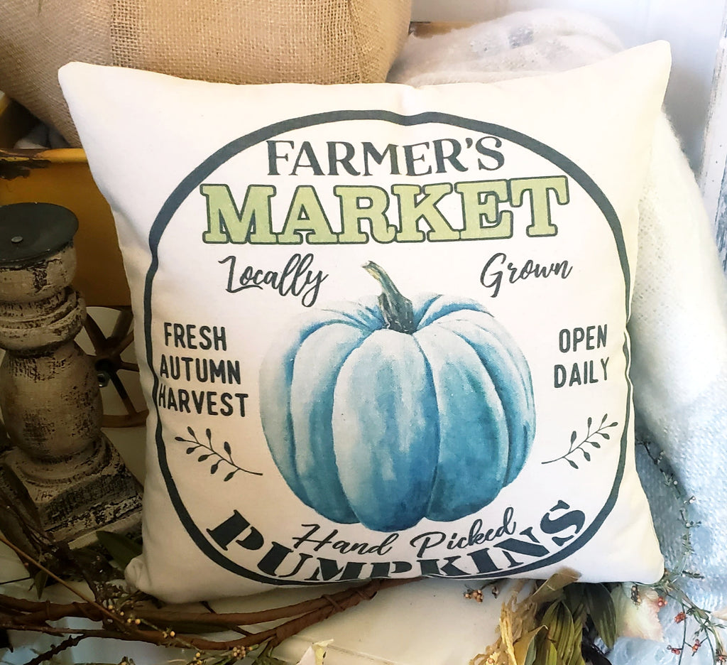 Farmer's Market Turquoise Pumpkin Circle 16x16 Cover