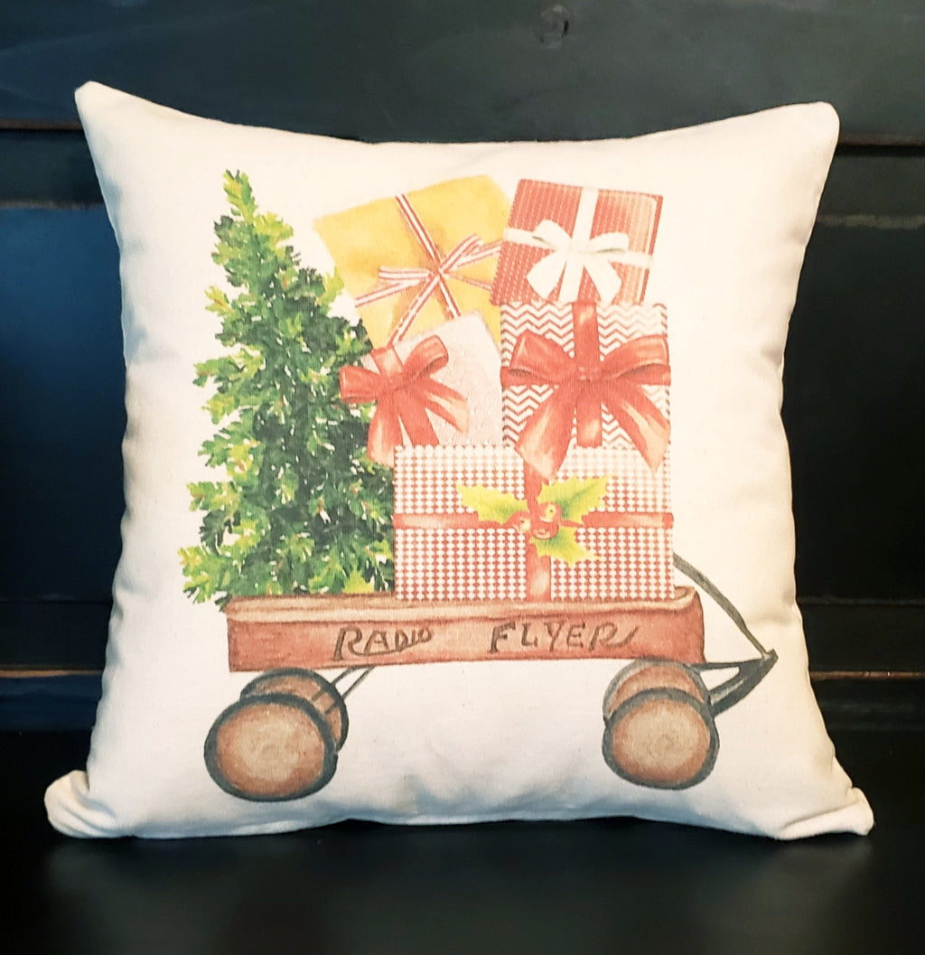 Christmas Wagon Presents 16x16 Cover