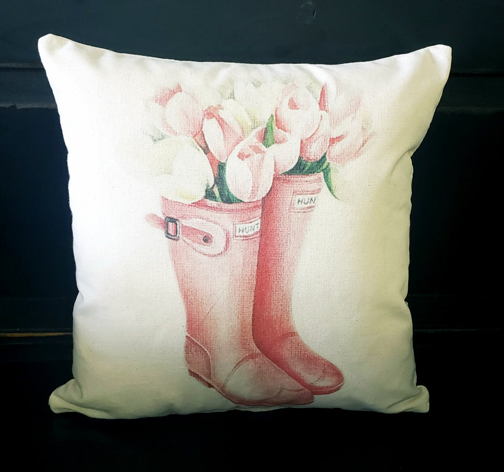 Pink Tulip Hunter Boots 16x16 Cover