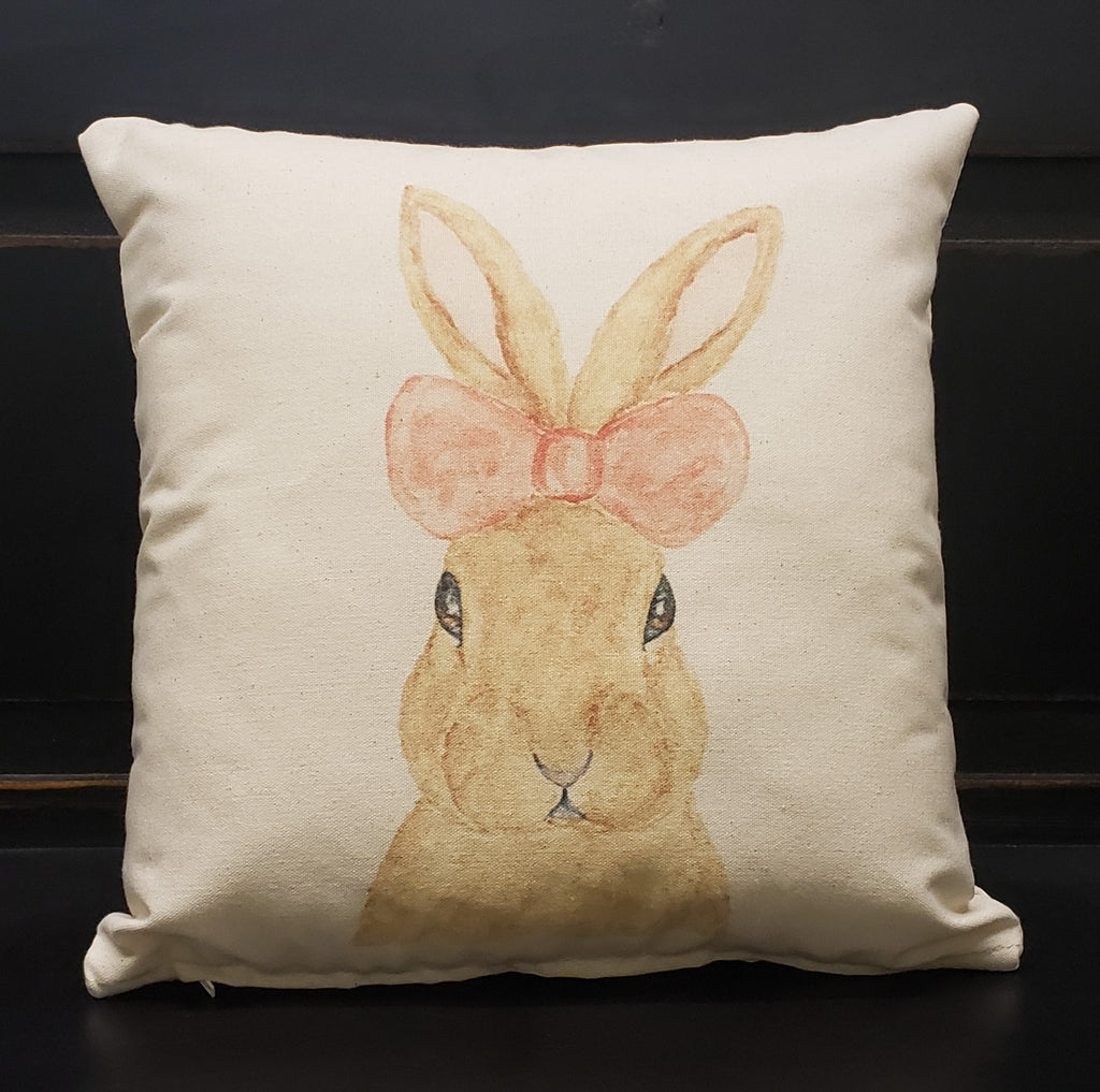 Bunny with Pink Bow 16x16 Cover