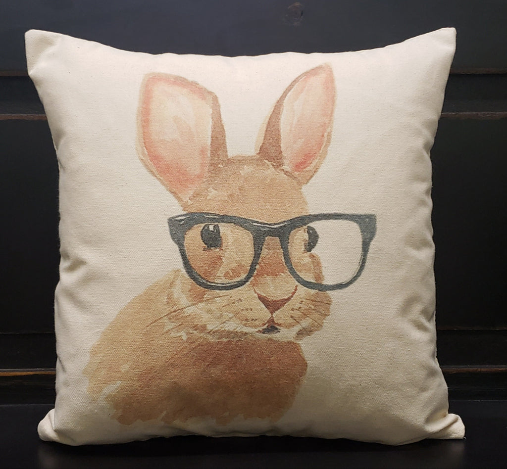 Bunny with Glasses Bow 16x16 Cover