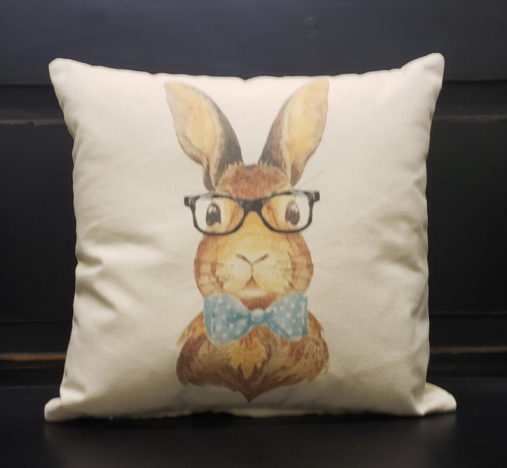 Bunny with Blue Bow 16x16 Cover