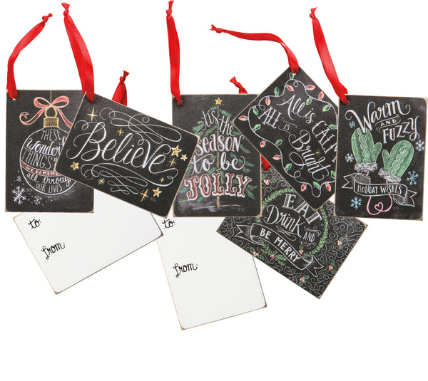Christmas Chalk Gift Tags Set of 6