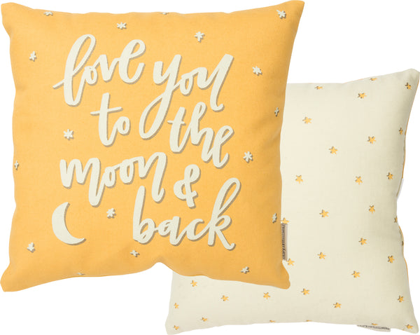 Love You to The Moon Back Yellow Pillow Insert Included