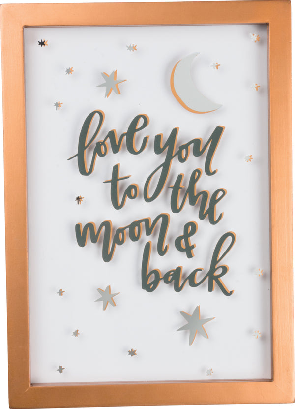 Love You to Moon and Back Glass Sign
