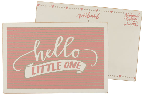 Hello Little One Girl Wooden Postcard