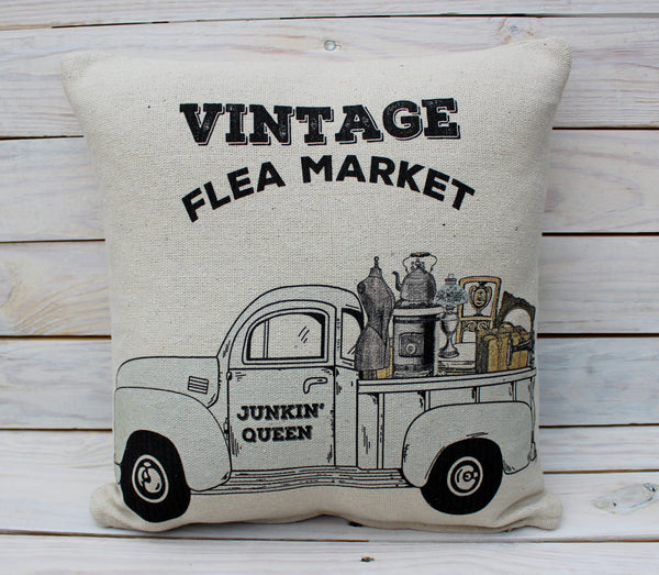Vintage Flea Market Truck Pillow