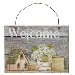 Welcome Bird House With Flower Sign