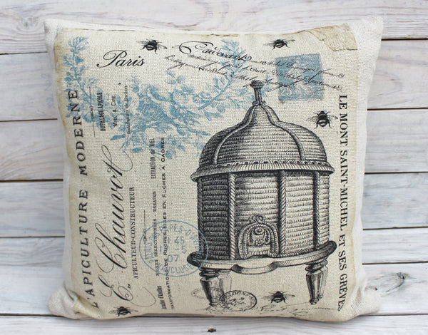 Blue Bee Hive Pillow