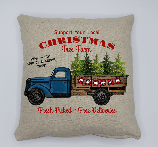 Blue Christmas Tree Truck Pillow