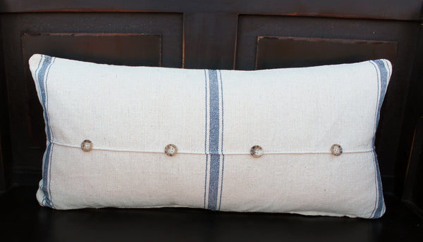 Grain Sack Pillow With Buttons