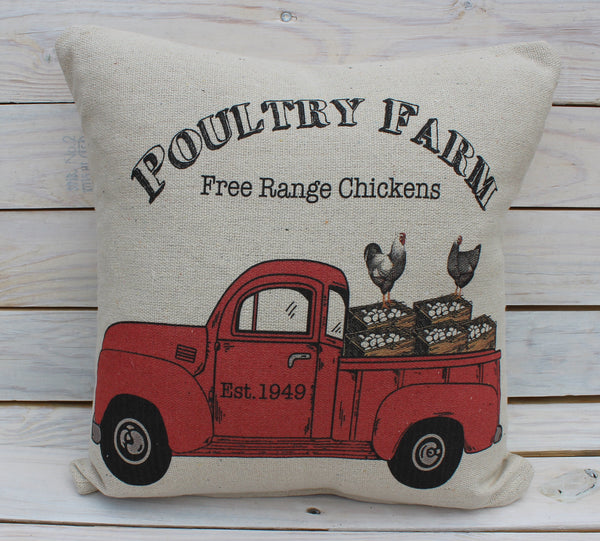 Chicken Farm Truck Pillow