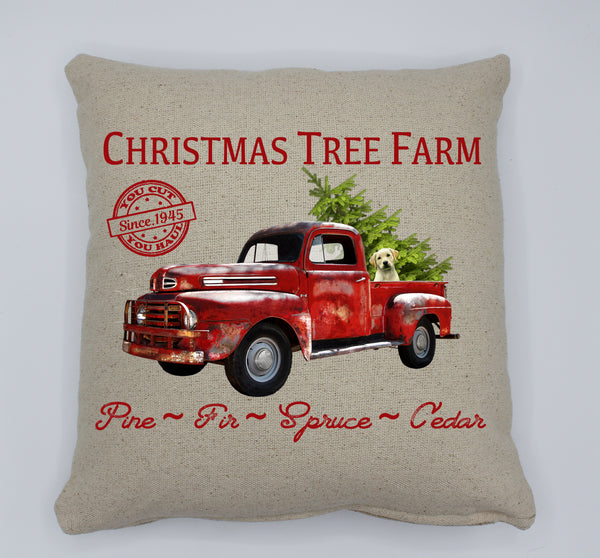 Christmas Tree Farm Dog Pillow