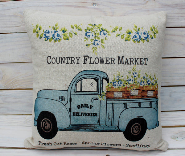 Country Flower Market with Blue Flowers Pillows