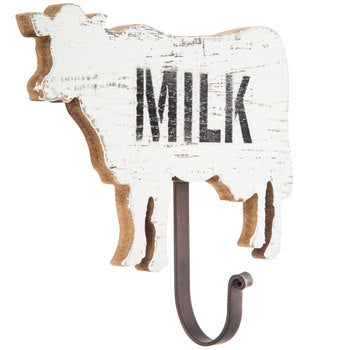 Cow Milk Wood Wall Hanger