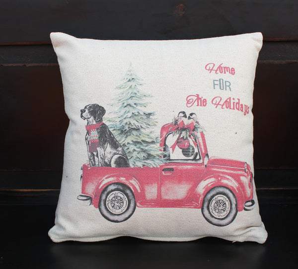 Home For The Holidays Truck Pillow