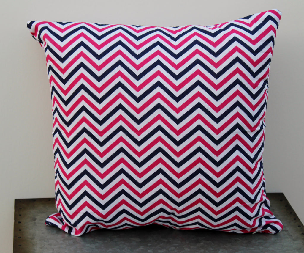 Pink & Navy Chevron Pillow