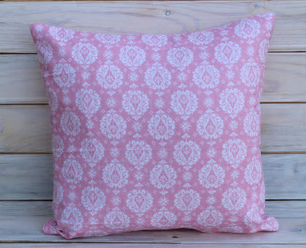 Pink Damask Pillow 16x16