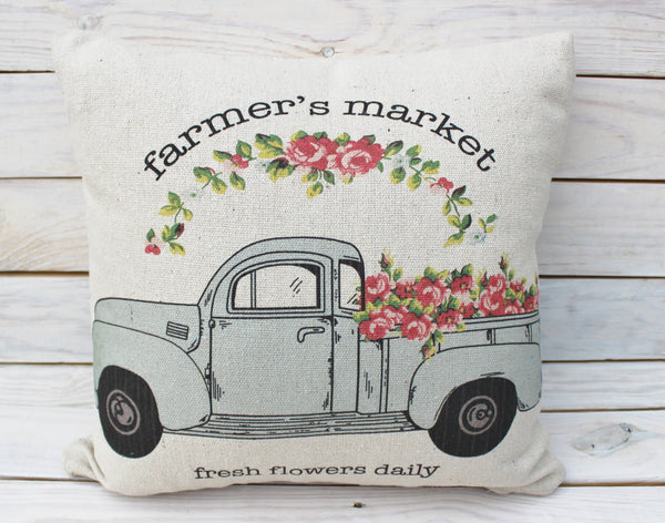 Farmer's Market Pink Flowers Truck Pillow