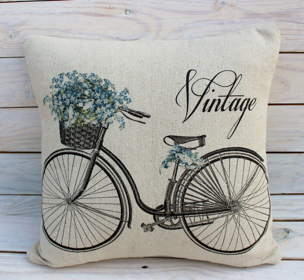 Vintage Blue Bike Pillow
