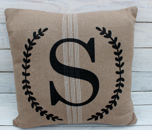 Monogrammed Wreath 16x16 Pillow