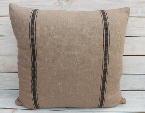 Black Stripe Feed Sack Pillow