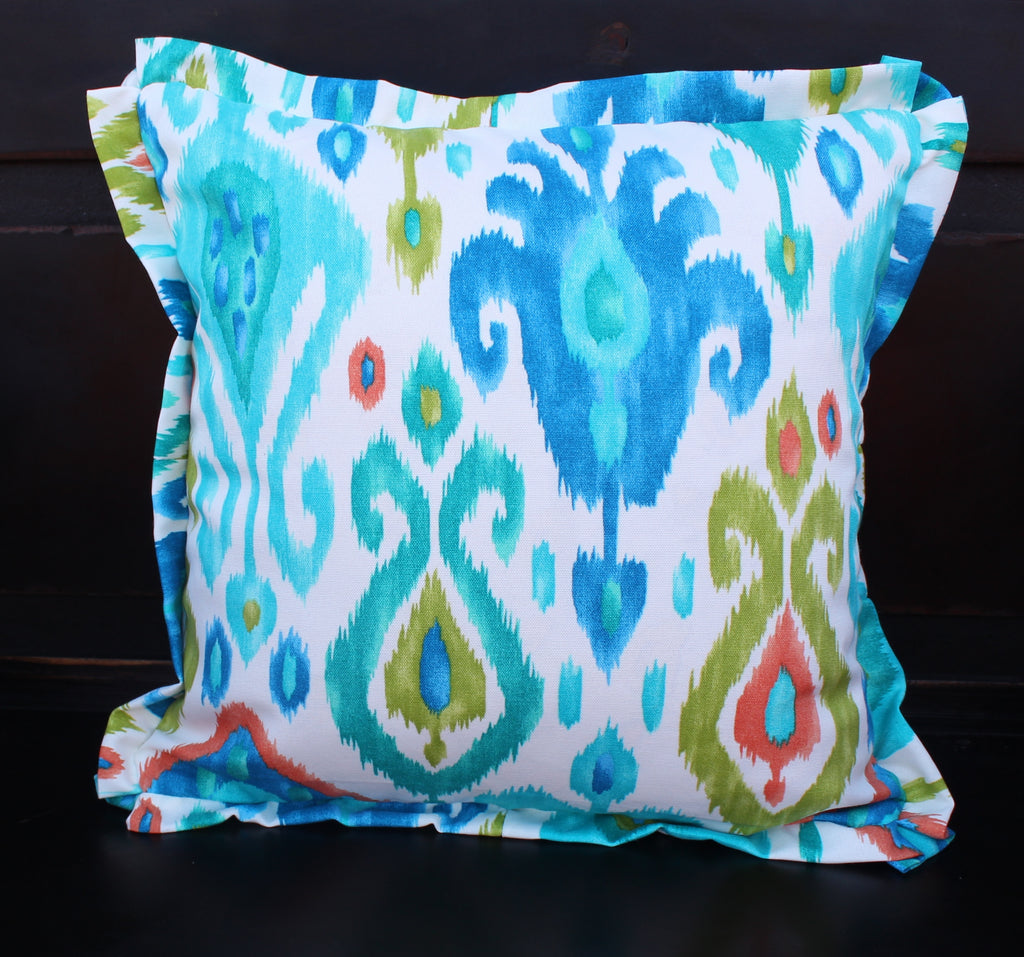 Multi Colored Ikat Outdoor Pillow