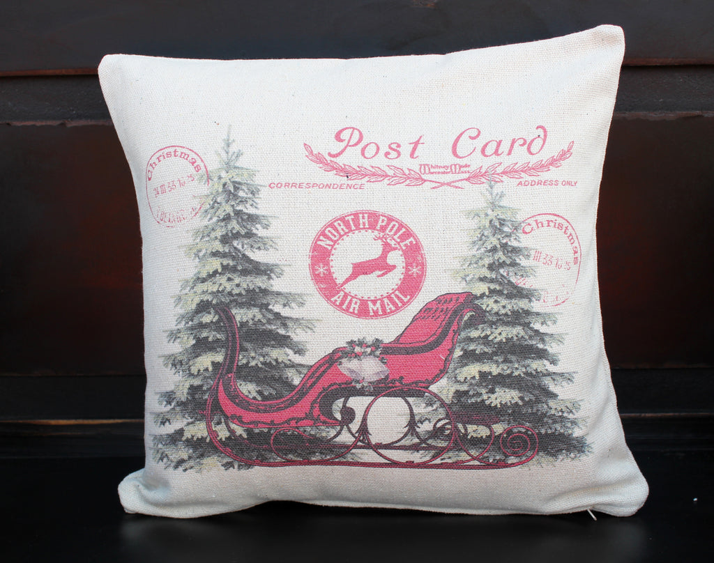 Sleigh Post Card Pillow