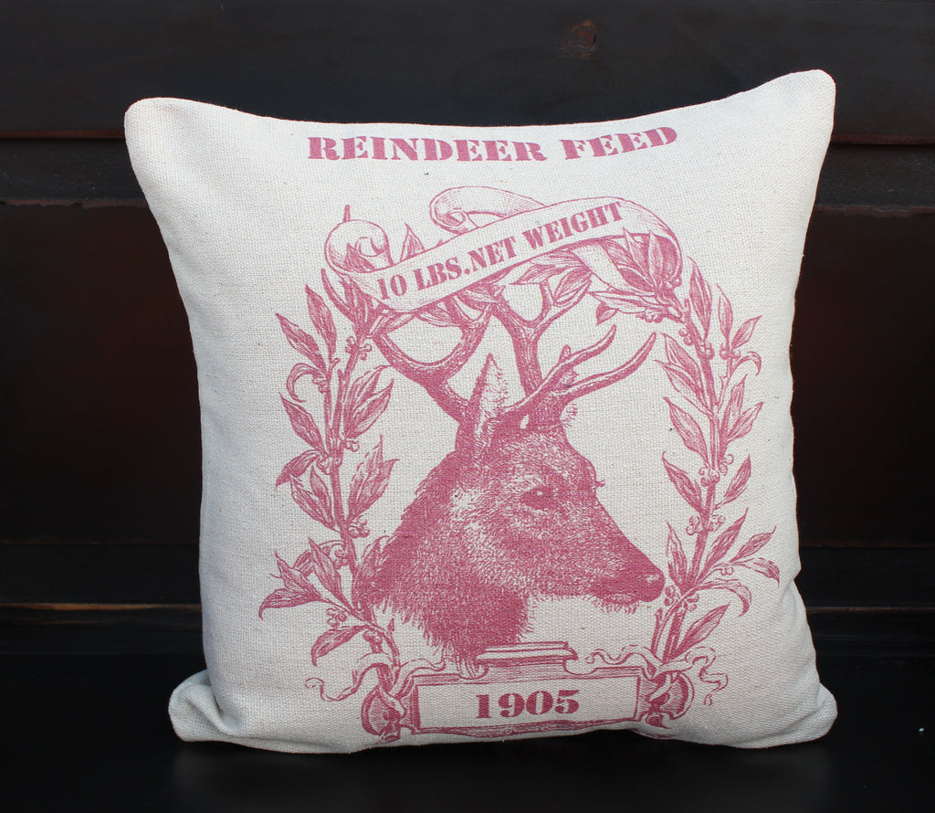 Red Reindeer Feed Pillow