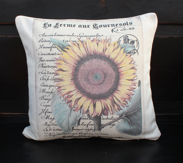 Script Sunflower Pillow