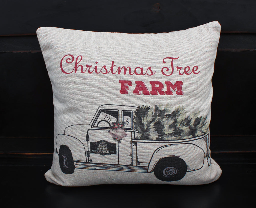 White Christmas Truck Pillow