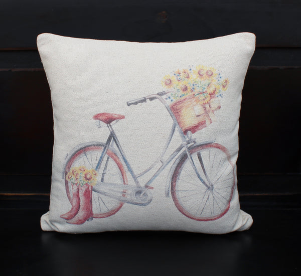 Sunflower Bike & Boots  Pillow